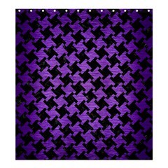 Houndstooth2 Black Marble & Purple Brushed Metal Shower Curtain 66  X 72  (large)  by trendistuff