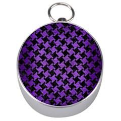 Houndstooth2 Black Marble & Purple Brushed Metal Silver Compasses by trendistuff