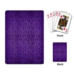 Hexagon1 Black Marble & Purple Brushed Metal Playing Card by trendistuff