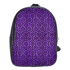 Hexagon1 Black Marble & Purple Brushed Metal School Bag (xl) by trendistuff