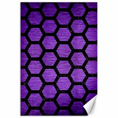 Hexagon2 Black Marble & Purple Brushed Metal Canvas 20  X 30   by trendistuff