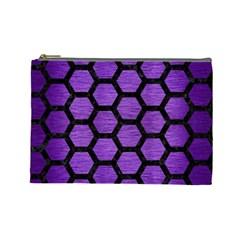 Hexagon2 Black Marble & Purple Brushed Metal Cosmetic Bag (large)  by trendistuff