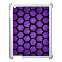 Hexagon2 Black Marble & Purple Brushed Metal Apple Ipad 3/4 Case (white) by trendistuff