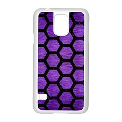 Hexagon2 Black Marble & Purple Brushed Metal Samsung Galaxy S5 Case (white) by trendistuff