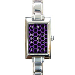 Hexagon2 Black Marble & Purple Brushed Metal (r) Rectangle Italian Charm Watch by trendistuff