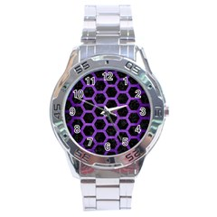 Hexagon2 Black Marble & Purple Brushed Metal (r) Stainless Steel Analogue Watch by trendistuff