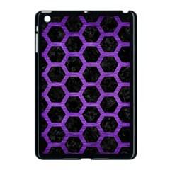 Hexagon2 Black Marble & Purple Brushed Metal (r) Apple Ipad Mini Case (black) by trendistuff