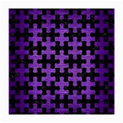 Puzzle1 Black Marble & Purple Brushed Metal Medium Glasses Cloth (2 Side) by trendistuff