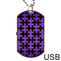 Puzzle1 Black Marble & Purple Brushed Metal Dog Tag Usb Flash (one Side) by trendistuff