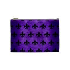 Royal1 Black Marble & Purple Brushed Metal (r) Cosmetic Bag (medium)  by trendistuff