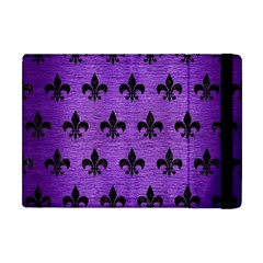 Royal1 Black Marble & Purple Brushed Metal (r) Apple Ipad Mini Flip Case by trendistuff