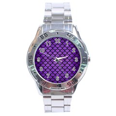 Scales1 Black Marble & Purple Brushed Metal Stainless Steel Analogue Watch by trendistuff