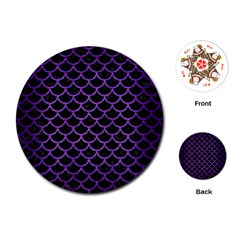 Scales1 Black Marble & Purple Brushed Metal (r) Playing Cards (round)  by trendistuff