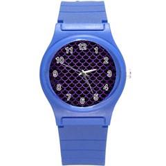Scales1 Black Marble & Purple Brushed Metal (r) Round Plastic Sport Watch (s) by trendistuff