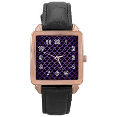 Scales1 Black Marble & Purple Brushed Metal (r) Rose Gold Leather Watch  by trendistuff