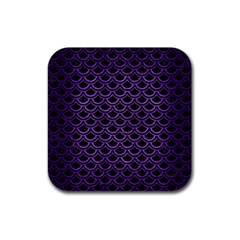 Scales2 Black Marble & Purple Brushed Metal (r) Rubber Coaster (square)  by trendistuff