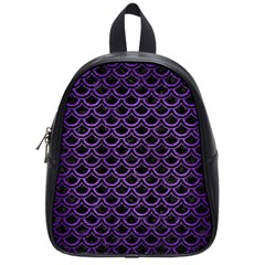 Scales2 Black Marble & Purple Brushed Metal (r) School Bag (small) by trendistuff