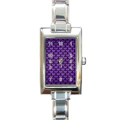 Scales3 Black Marble & Purple Brushed Metal Rectangle Italian Charm Watch by trendistuff