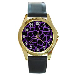 Skin1 Black Marble & Purple Brushed Metal Round Gold Metal Watch by trendistuff