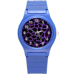 Skin1 Black Marble & Purple Brushed Metal Round Plastic Sport Watch (s) by trendistuff