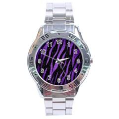 Skin3 Black Marble & Purple Brushed Metal (r) Stainless Steel Analogue Watch by trendistuff
