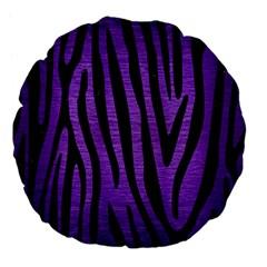 Skin4 Black Marble & Purple Brushed Metal (r) Large 18  Premium Flano Round Cushions by trendistuff
