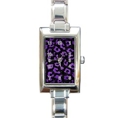 Skin5 Black Marble & Purple Brushed Metal Rectangle Italian Charm Watch by trendistuff