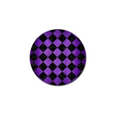 Square2 Black Marble & Purple Brushed Metal Golf Ball Marker by trendistuff