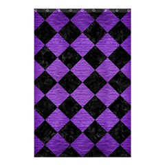 Square2 Black Marble & Purple Brushed Metal Shower Curtain 48  X 72  (small)  by trendistuff