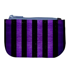Stripes1 Black Marble & Purple Brushed Metal Large Coin Purse by trendistuff