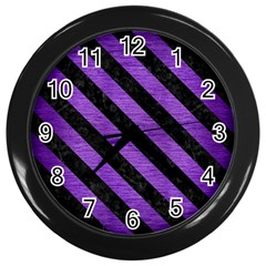 Stripes3 Black Marble & Purple Brushed Metal Wall Clocks (black) by trendistuff