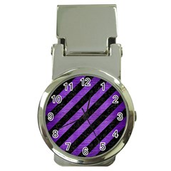 Stripes3 Black Marble & Purple Brushed Metal (r) Money Clip Watches by trendistuff