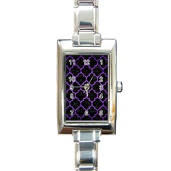 Tile1 Black Marble & Purple Brushed Metal (r) Rectangle Italian Charm Watch by trendistuff