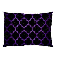 Tile1 Black Marble & Purple Brushed Metal (r) Pillow Case by trendistuff