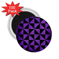 Triangle1 Black Marble & Purple Brushed Metal 2 25  Magnets (100 Pack)  by trendistuff