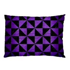 Triangle1 Black Marble & Purple Brushed Metal Pillow Case by trendistuff