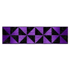 Triangle1 Black Marble & Purple Brushed Metal Satin Scarf (oblong) by trendistuff