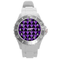 Triangle2 Black Marble & Purple Brushed Metal Round Plastic Sport Watch (l) by trendistuff