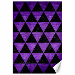 Triangle3 Black Marble & Purple Brushed Metal Canvas 20  X 30   by trendistuff
