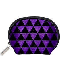 Triangle3 Black Marble & Purple Brushed Metal Accessory Pouches (small)  by trendistuff