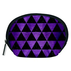 Triangle3 Black Marble & Purple Brushed Metal Accessory Pouches (medium)  by trendistuff