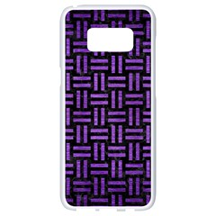 Woven1 Black Marble & Purple Brushed Metal (r) Samsung Galaxy S8 White Seamless Case by trendistuff
