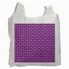 Brick1 Black Marble & Purple Colored Pencil Recycle Bag (two Side)  by trendistuff