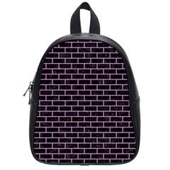 Brick1 Black Marble & Purple Colored Pencil (r) School Bag (small) by trendistuff