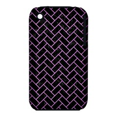Brick2 Black Marble & Purple Colored Pencil (r) Iphone 3s/3gs by trendistuff