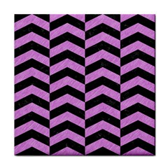Chevron2 Black Marble & Purple Colored Pencil Face Towel by trendistuff
