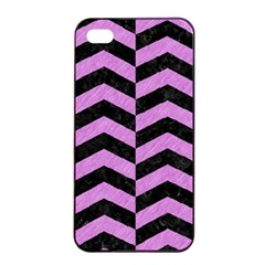 Chevron2 Black Marble & Purple Colored Pencil Apple Iphone 4/4s Seamless Case (black) by trendistuff
