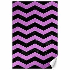 Chevron3 Black Marble & Purple Colored Pencil Canvas 24  X 36  by trendistuff