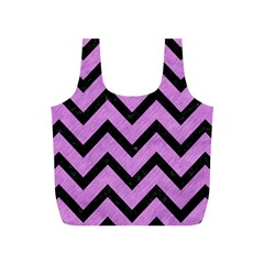 Chevron9 Black Marble & Purple Colored Pencil Full Print Recycle Bags (s)  by trendistuff