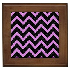 Chevron9 Black Marble & Purple Colored Pencil (r) Framed Tiles by trendistuff